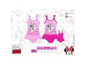 Disney Minnie Mouse jednodílné plavky růžové s volánkovou sukní