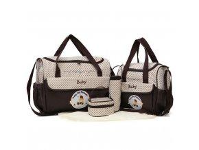 MOTOHOOD 38 18 30cm 5pcs Baby Diaper Bag Sets changing Nappy Bag For Mom Multifunction Stroller Brown
