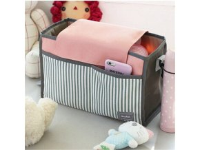 Hot Droship Multifunctional Mummy Bag Diaper Bags Baby Diaper Nappy Polyester Stroller Striped Hanging Bag Pink
