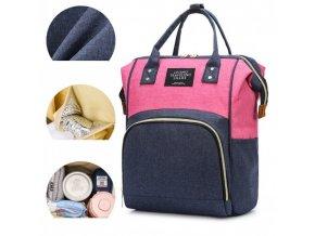 Přebalovací batoh/závěsný organizér na kočárek, růžovo-modrý
