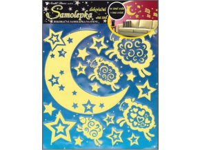 Samolepící dekorace na zeď svítící ve tmě - Měsíc a ovečka