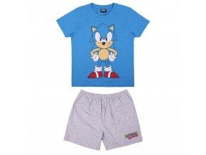Chlapecké letní pyžamo Sonic, tričko + kraťasy (modro-šedé)