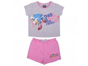 Dívčí letní pyžamo Sonic, tričko + kraťasy (šedo-růžové)