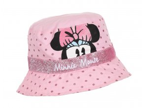 MINNIE MOUSE dívčí klobouček růžový, růžové tečky