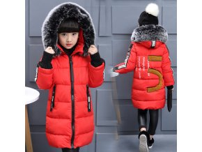 Hot 2018 girls Winter New Cotton Jackets Girls Fashion Fur Collar Letters Coats Girl Thickening Hooded 3