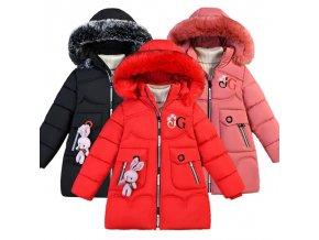 Dívčí zateplený zimní kabát se zajíčkem
