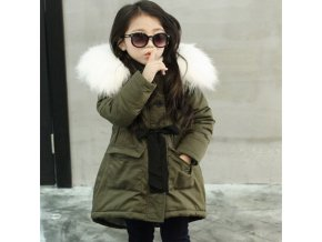 Korean Brand Girls Jackets Kids Faux Fur Collar Coat Children Winter Outwear 3 11 years old GREEN