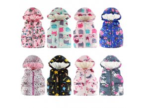 JOMAKE Girls Vests 2018 Autumn Winter Brand Baby Girl Clothes Printed Hooded Kids Waistcoat Children Clothing 1 (1)