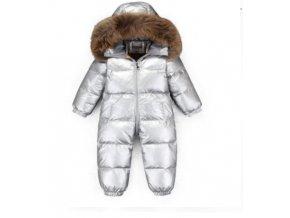 Dětská stříbrná zimní kombinéza až do -30°C, výplň kachní peří