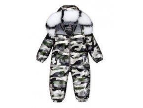 Dětská zimní maskáčová kombinéza až do -30°C, výplň kachní peří