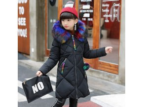 30 degrees Girls Cotton padded Outerwear Coats 2018 Winter Children Warm Clothes fashion multicolour Fur black