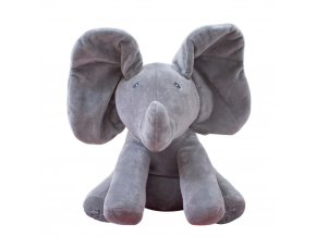 1pc 30cm Singing Elephant bear Electronic music Plush Toy Game Doll Educational soft stuffed anti stress gray