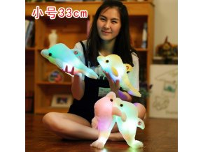 33cm Colorful Led Light Animal Peluch Pillow Cute Little Dolphin Stuffed Plush Pet Doll Toy Girl 1
