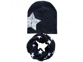 New Autumn Winter Cotton Baby Hat Scarf Set Big Stars Print Baby Boys Girls Beanies Caps black big star set
