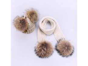 Parent Child Caps Cute Infant Baby Pompon Winter Hat Scarf Sets Real Natural Fur Ball Caps Beige 4 balls