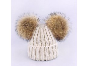 Parent Child Caps Cute Infant Baby Pompon Winter Hat Scarf Sets Real Natural Fur Ball Caps Hat Beige 2 balls
