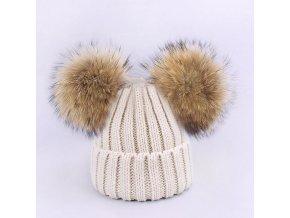 Parent Child Caps Cute Infant Baby Pompon Winter Hat Scarf Sets Real Natural Fur Ball Caps Hat Beige 2 balls