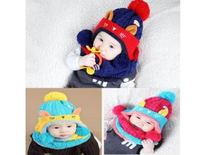 2017 Cartoon kitten velvet wool kids boys Knitted fur hats winter 2 pcs baby girl scarf 1