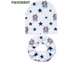 New Autumn Winter Baby Hat Set Boys Girls Neck Scarf Spring Warm Neckerchief Kids Beanies Sets 1