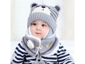 Unisex Child Beanies Cap Set Baby Kids Cartoon Design Stripe Knit Add Velvet Hat and Scarf 5