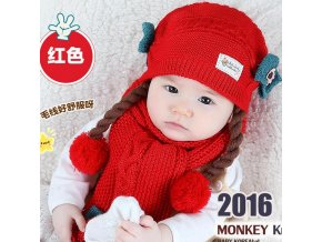 2016 Korean False braids Child Knitted hats winter two flowers 2 pcs baby girl scarf hat Red