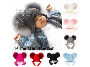 LAURASHOW New Autumn Winter Baby Beanie 16 CM Real Fur Pompoms Warm Sleep Wool Cap Kids 1