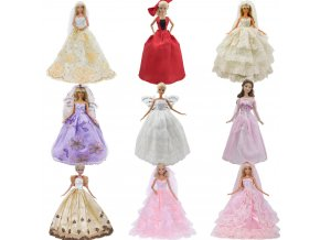 Handmade Wedding Dress Princess Evening Party Ball Long Gown Skirt Bridal Veil Clothes For Barbie Doll 1