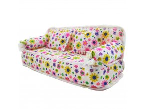 1 Pcs Mini Sofa Play Toy Flower Print Baby Toy Plush Stuffed Furniture Sofa With 2x 1