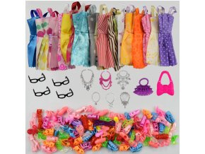32 Item Set Doll Accessories 10 Pcs Doll Clothes Dress 4 Glasses 6 Plastic Necklace 2 1 (1)