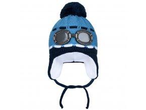 Zimní dětská čepička New Baby brýle modrá, vel. 104 (3-4r)