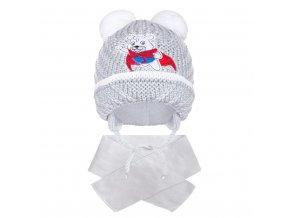 Zimní dětská čepička se šálou New Baby medvídek J šedá, vel. 104 (3-4r)