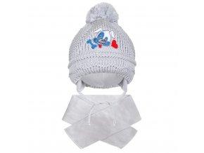 Zimní dětská čepička se šálou New Baby pejsek šedá, vel. 104 (3-4r)