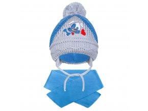 Zimní dětská čepička se šálou New Baby pejsek tmavě modrá, vel. 104 (3-4r)