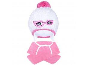 Zimní dětská pletená čepička se šálou New Baby růžová, vel. 104 (3-4r)