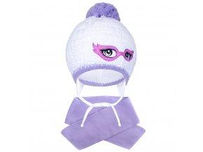 Zimní dětská pletená čepička se šálou New Baby fialová, vel. 104 (3-4r)