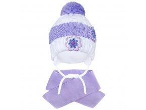 Zimní dětská čepička se šálou New Baby květinky fialová, vel. 104 (3-4r)