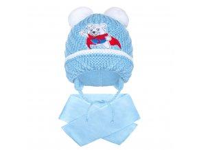 Zimní dětská čepička se šálou New Baby medvídek J světle modrá, vel. 104 (3-4r)
