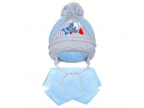 Zimní dětská čepička se šálou New Baby pejsek světle modrá, vel. 104 (3-4r)