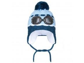 Zimní dětská čepička New Baby brýle světle modrá, vel. 104 (3-4r)