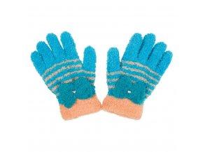 Dětské zimní froté rukavičky New Baby modro-oranžové, vel. 110 (4-5r)