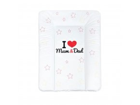 Přebalovací podložka měkká New Baby I love Mum and Dad bílá 70x50cm