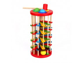 Wooden Tower with Hammer Knock The Ball Off Ladder Children Educational Initiation Toys Montessori Early Learning 1