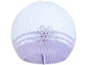 Pletená čepička New Baby kytička fialová, vel. 104 (3-4r)