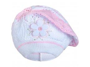 Pletená čepička-baret New Baby světle růžová, vel. 104 (3-4r)