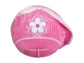 Pletená čepička-baret New Baby tmavě růžová, vel. 104 (3-4r)