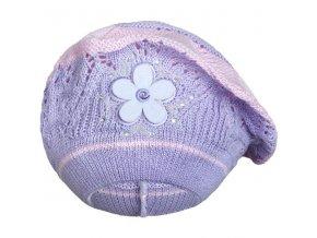 Pletená čepička-baret New Baby fialová, vel. 104 (3-4r)