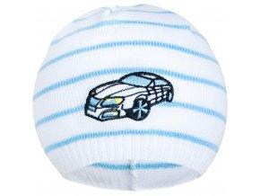Jarní čepička New Baby s autíčkem bílo-modrá, vel. 104 (3-4r)