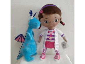 Free Shipping 32cm 12 6 Original Doc McStuffins Plush Toys Dottie girl and Cute Blue Dragon 1