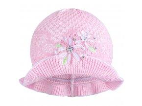 Pletený klobouček New Baby růžovo-bílý, vel. 104 (3-4r)