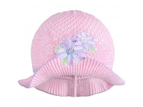 Pletený klobouček New Baby růžovo-fialový, vel. 104 (3-4r)